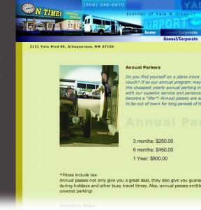 Airport Parking, Albuquerque, NM: web design
